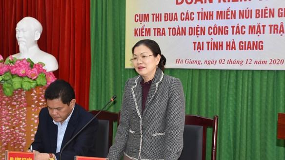 UBTƯ MTTQ Việt Nam kiểm tra công tác Mặt trận tại Hà Giang