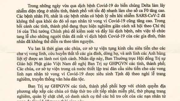 Phật giáo thiết lập trai đàn tụng kinh cầu siêu cho các nạn nhân tử vong do dịch Covid-19