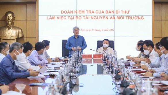 Đoàn kiểm tra của Ban Bí thư làm việc tại Bộ Tài nguyên và Môi trường