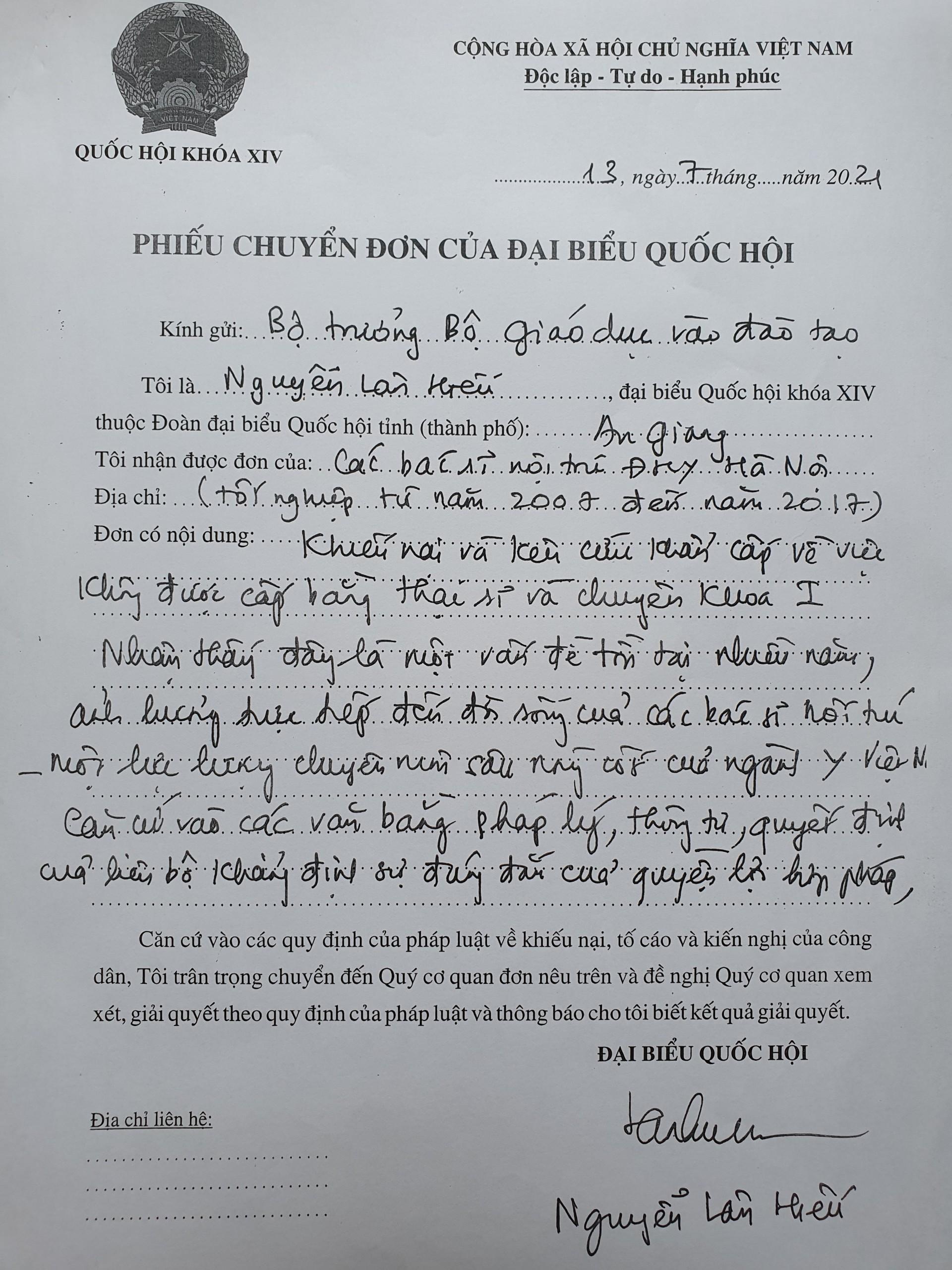 Phiếu chuyển đơn của PGS.TS Nguyễn Lân Hiếu gửi Bộ trường Bộ GD&ĐT.
