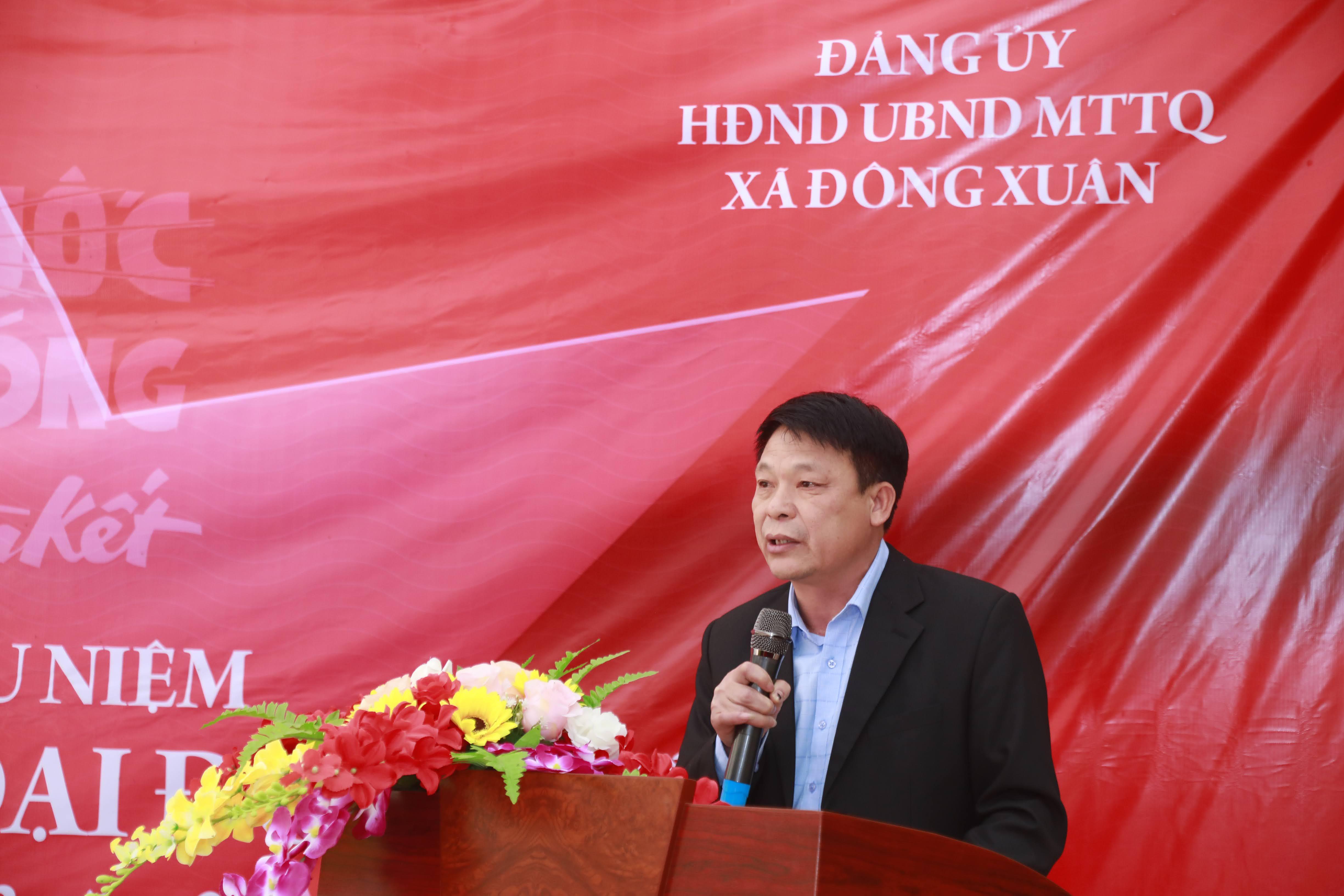 Bí thư Đảng uỷ xã Đông Xuân Nguyễn Văn Quá phát biểu tại buổi lễ.Ảnh: Quang Vinh.