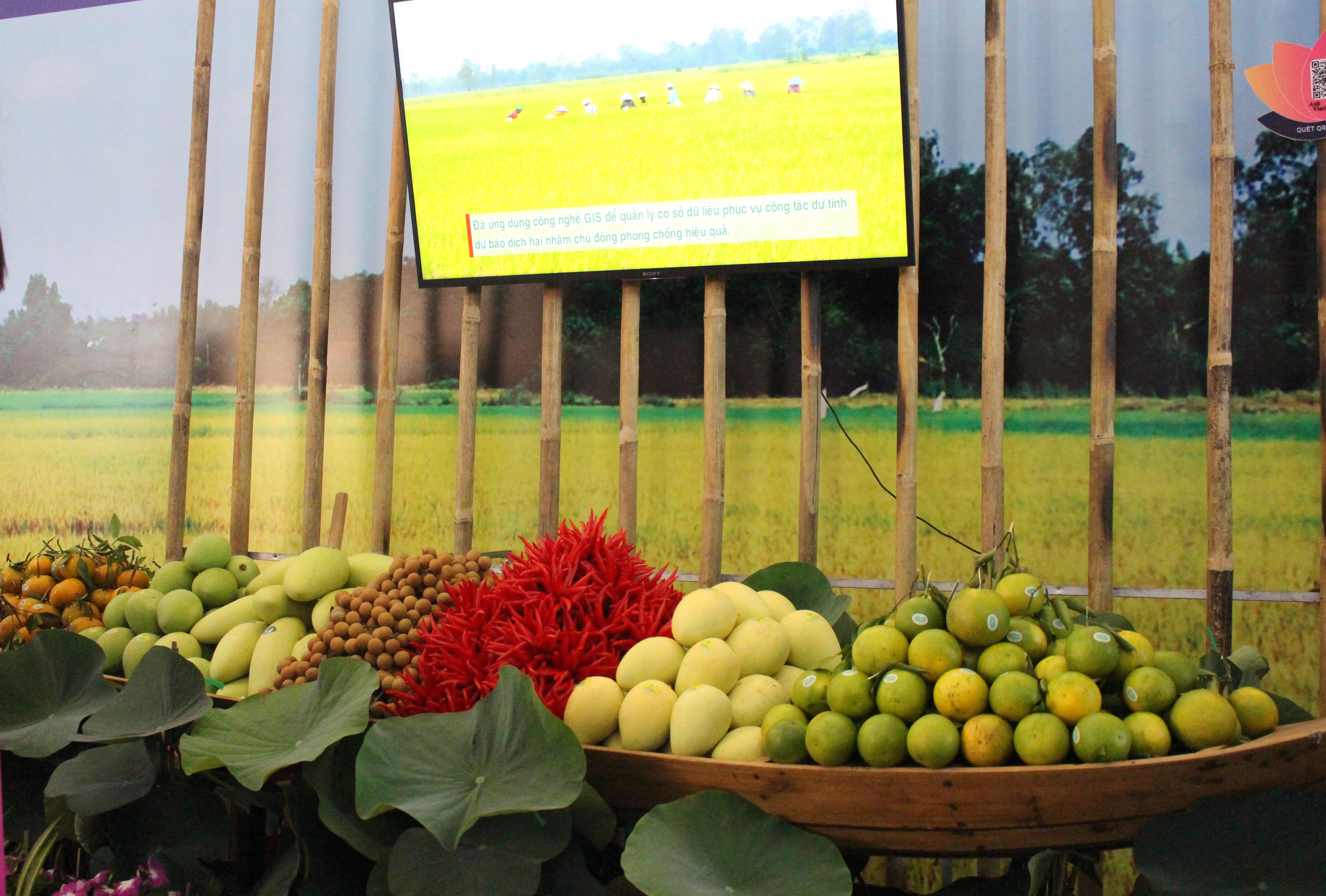 Các sản phẩm áp dụng nông nghiệp công nghệ cao được trưng bày tại sự kiện.
