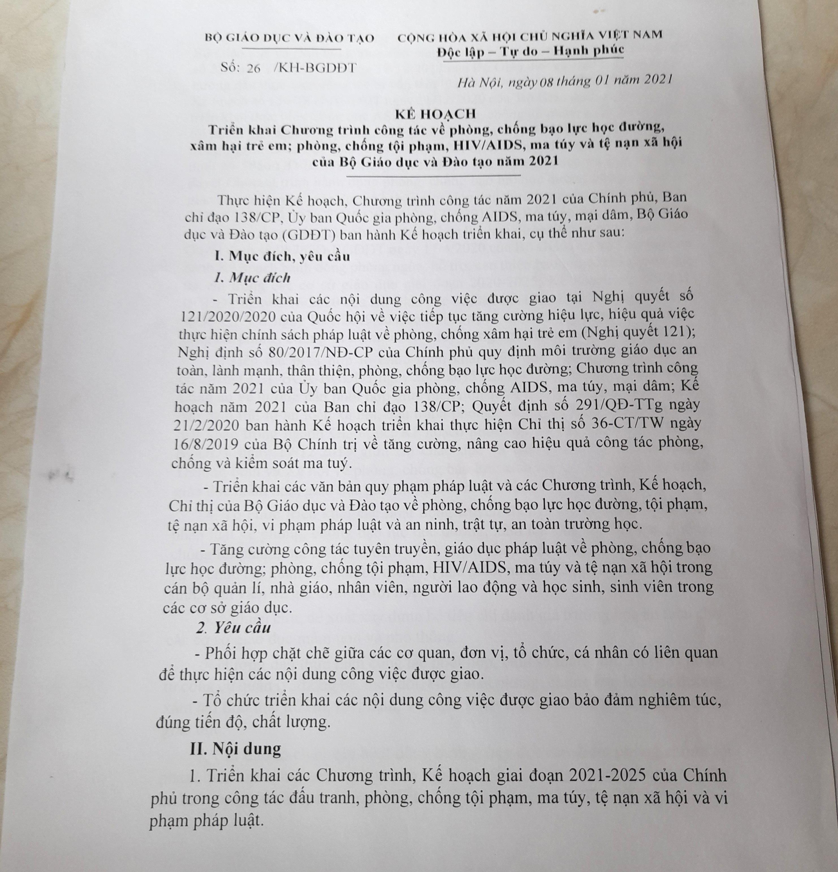 Kế hoạch số 26 (gốc) do Thứ thưởng Bộ GDĐT Ngô Thị Minh ký ban hành.