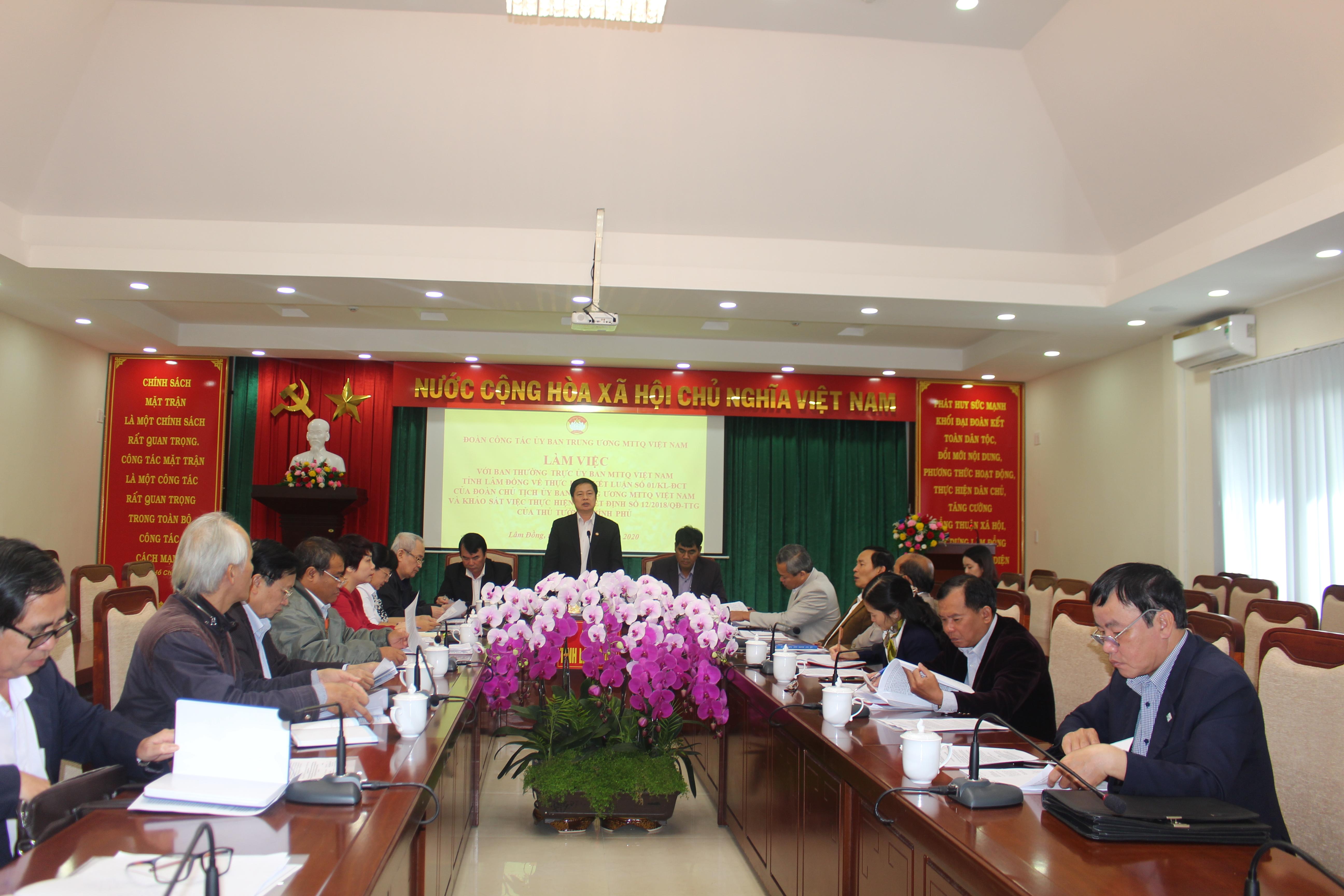Đoàn công tác của UBTƯ MTTQ Việt Nam làm việc tại Lâm Đồng.