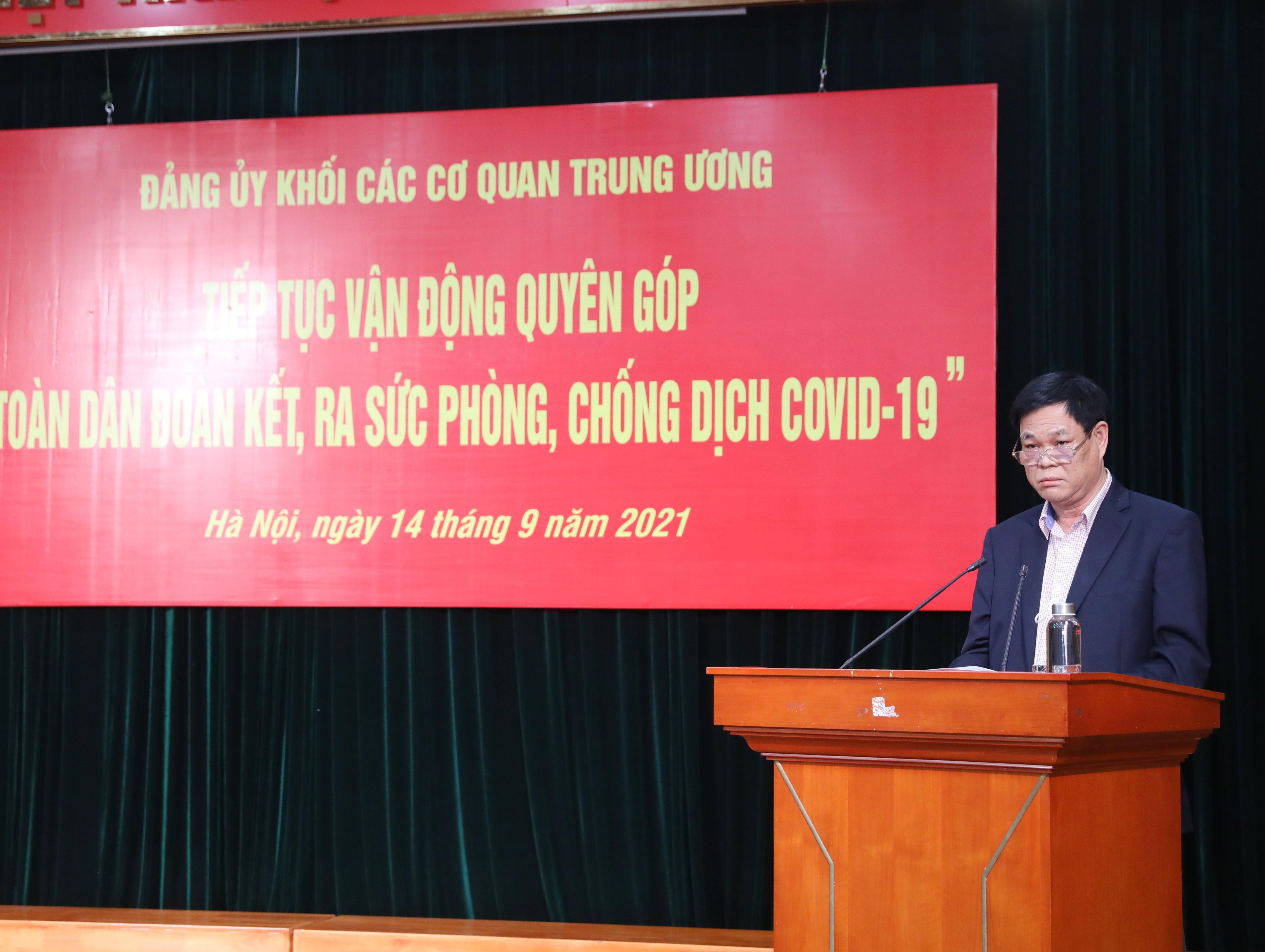 Ông Huỳnh Tấn Việt, Bí thư Đảng ủy Khối các cơ quan Trung ương kêu gọi ủng hộ Quỹ phòng chống dịch Covid-19.