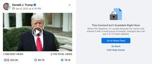 Tài khoản Twitter, Facebook của Tổng thống Trump bị khóa vô thời hạn