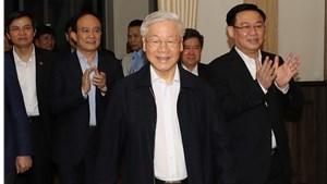 Hình ảnh Tổng Bí thư, Chủ tịch nước dự hội nghị lấy ý kiến cử tri