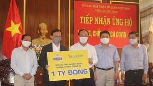 Mặt trận Quảng Nam tiếp nhận 1 tỷ đồng ủng hộ phòng, chống dịch Covid-19