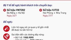 Hành khách 2 chuyến bay VN7282 và VJ733 cần sớm liên hệ cơ quan y tế
