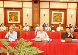 Hình ảnh Bộ Chính trị làm việc với các Đảng bộ trực thuộc Trung ương