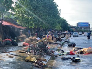 Tiểu thương bật khóc khi thấy hàng hoá biến thành rác sau lũ
