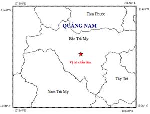 Quảng Nam: Xảy ra động đất 2,8 độ Richter ở huyện Bắc Trà My