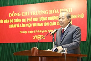 Phó Thủ tướng Thường trực thăm, làm việc với Ban Tôn giáo Chính phủ