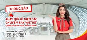 Thông báo thay đổi số hiệu các chuyến bay của Vietjet giữa Bangkok và TP Hồ Chí Minh
