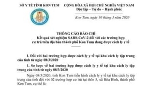 Lãnh đạo tỉnh Kon Tum âm tính với SARS-CoV-2