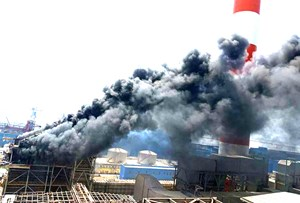 Cháy lớn tại công trường Nhà máy Nhiệt điện Duyên Hải 3