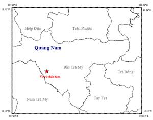 Động đất 2.8 độ richter ở huyện Bắc Trà My