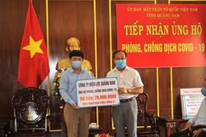 Mặt trận Quảng Nam tiếp nhận 345 triệu đồng ủng hộ phòng, chống dịch Covid-19