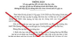 Văn bản 'cho sinh viên Đại học Đà Nẵng nghỉ học' là giả mạo
