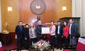 Gia đình cụ Hoàng Thị Minh Hồ dành tiền viếng ủng hộ đồng bào gặp khó khăn
