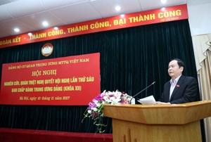 Mặt trận Trung ương thông báo kết quả Hội nghị Trung ương 6