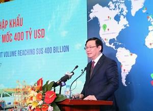 Ngành hải quan làm Lễ công bố đạt mốc 400 tỷ USD xuất nhập khẩu