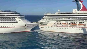 Hai tàu du lịch khổng lồ của Mỹ va chạm ngoài khơi, 6 người bị thương
