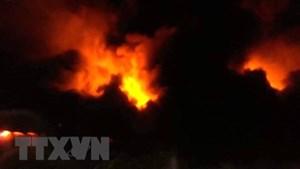 Hải Phòng: Cháy lớn tại xưởng đế giày, chưa rõ thiệt hại