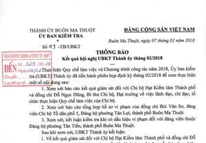 UBKT Thành ủy Buôn Ma Thuột kỷ luật 2 đảng viên vi phạm