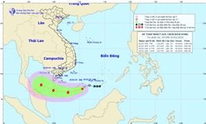 Áp thấp nhiệt đới có khả năng mạnh lên thành bão đang tiến gần Trường Sa