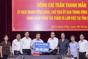BẢN TIN MẶT TRẬN: Chủ tịch Trần Thanh Mẫn trao 500 triệu đồng hỗ trợ tỉnh Điện Biên