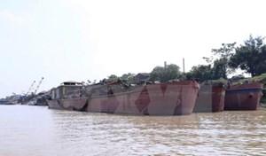 Bắt tàu khai thác cát trái phép gần điểm xung yếu đê sông Hồng