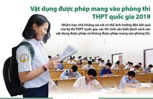 [Infographics] Vật dụng được phép mang vào phòng thi THPT quốc gia