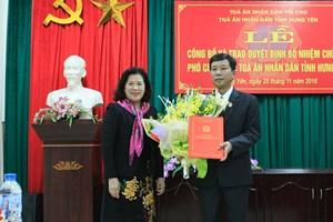 Bổ nhiệm Phó Chánh án TAND tỉnh Hưng Yên
