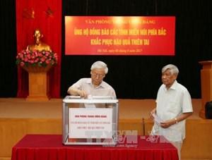 Các cơ quan Trung ương Đảng quyên góp ủng hộ đồng bào bị thiên tai