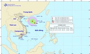 [Cảnh báo]: Vùng áp thấp đã mạnh lên thành áp thấp nhiệt đới trên Biển Đông