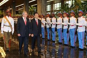Chủ tịch nước Trương Tấn Sang hội đàm với Chủ tịch Cuba Raul Castro Ruz