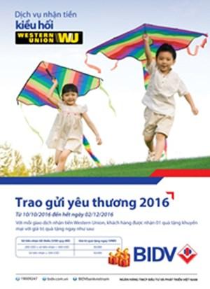 Chương trình khuyến mại chuyển tiền kiều hối WU 'Trao gửi yêu thương 2016'