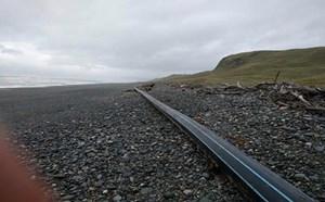 Đường ống dài 100m dạt vào bờ biển New Zealand