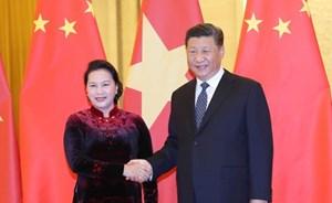 Chủ tịch Quốc hội Nguyễn Thị Kim Ngân chào xã giao Tổng Bí thư, Chủ tịch nước Trung Quốc Tập Cận Bình