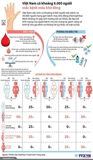 [Infographics] Việt Nam có khoảng 6.000 người mắc bệnh máu khó đông
