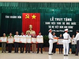 Khánh Hòa: Truy tặng danh hiệu Bà mẹ Việt Nam Anh hùng cho 65 mẹ