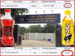 Kiểm nghiệm sản phẩm C2, Rồng đỏ: Hàm lượng chì trong giới hạn cho phép
