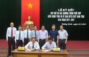 Mặt trận và UBND tỉnh Quảng Bình ký kết quy chế phối hợp
