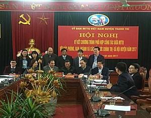 MTTQ huyện Thanh Trì ký kết chương trình phối hợp công tác năm 2017