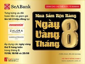 Seabank khuyến mại lớn dành cho chủ thẻ Quốc tế trong tháng 8/2016