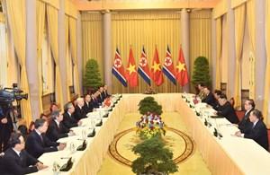 Tổng Bí thư, Chủ tịch nước Nguyễn Phú Trọng hội đàm với Chủ tịch Triều Tiên Kim Jong-un