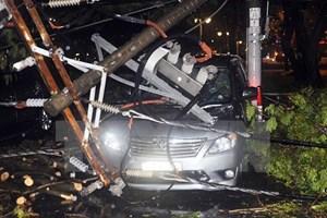 TP Hồ Chí Minh: Mưa to gió lớn kéo đổ trụ điện, đè lên 7 chiếc ôtô