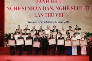 Trao tặng danh hiệu NSND, NSƯT lần thứ VIII