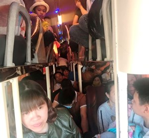 Xe khách 40 chỗ ngồi 'nhồi' hơn 60 người
